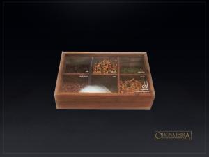 Caixa-estojo de madeira com divisorias – Modelo com tampa deslizante em acrilico – Personalizada em serigrafia – Ref. OH!