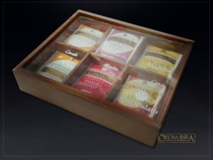 caixa de madeira para cha – modelo com tampa de acrilico – ref. gran palato