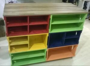 Balcao de caixotes - Modelo com caixotes retos, com prateleiras e divisorias - projeto para loja de roupas (2)