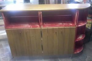 Balcao para cozinha - Modelo com cantoneira - Caixotes em patina vermelha e Mel - Medidas 1,50 x 1,10m - Sob encomenda