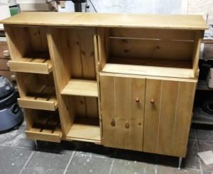 Balcao para cozinha, com fruteira, nichos e portas - Acabamento Mel - Medidas 1,20 x 1,20 x 0,35m