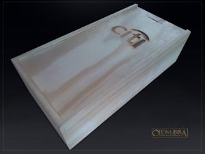 Caixa de madeira com tampa deslizante, Fabricada em madeira Pinus, Modelo com divisorias internas PARA 01 GARRAFA E 03 COPOS . Acabamento natural com