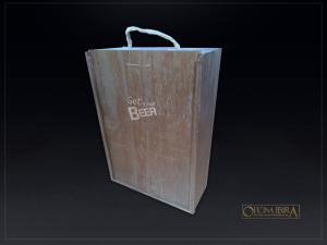 Caixa de madeira com tampa deslizante, Fabricada em madeira Pinus, Modelo com divisorias internas para 03 garrafas. . Acabamento tingido com p
