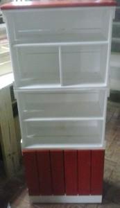 Estante com Caixotes coloridos, Branco e Vermelho, com portas e base. Medidas 1,90 x 0,60m - Sob encomenda