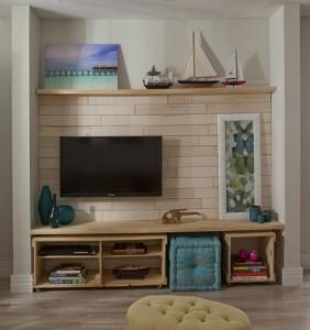 Painel e rack de madeira, modelo com painel mosaico e rack estilo caixotes