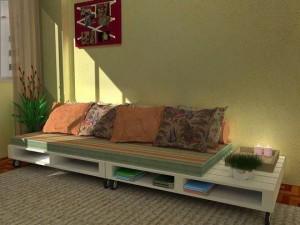 Sofa de pallets com ripamento duplo e base com rodizios, acabamento em pintura branca