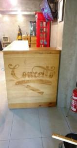 balcao de caixotes - modelo em L - projeto barbearia Conceito