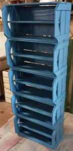 estante com caixotes e prateleiras - pintura na cor azul - modelo com 5 caixotes tradicionais