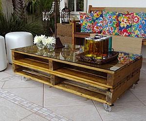 mesa de centro de caixotes duplos