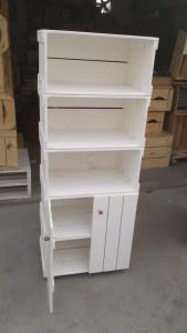 movel de caixotes - armario estante com caixotes na cor branca - modelo com 5 caixotes e portas