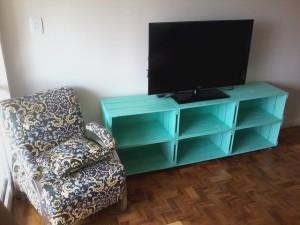 rack de caixotes - modelo com 6 caixotes, acabamento em pintura na cor turquesa - medidas 1,80 x 0,70