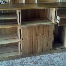 Balcao de Caixotes - Modelo com Caixotes, portas, gavetas, tampo e base - Acabamento Castanho - Medidas 1,80 x 1,10 x 0,40m