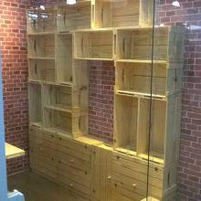 Estante de caixotes, modelo com caixotes retos p26, com portas e base, acabamento selado, projeto para loja de roupas