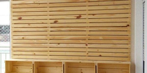 Painel ripado com nichos - Acabamento natural - medidas 2,50 x 2,00 -REF painel ripado