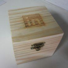 caixa de madeira - modelo mini bau - com tampa articulada e feho - ref. LINKEDIN